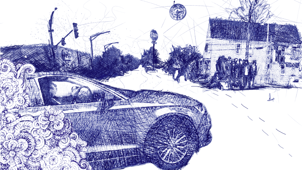 Illustration of Guadalupe driving a car through Chicago streets