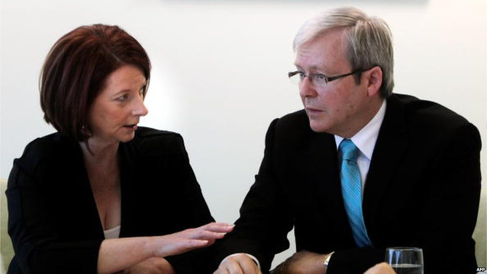 Australian Prime Minister Julia Gillard meets with former premier Kevin Rudd to discuss their election campaign in Brisbane on August 7, 2010.