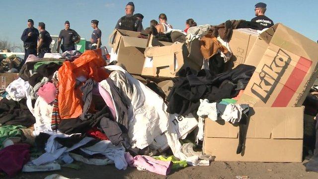 Rubbish at migrant camp