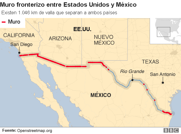 Mapa del muro entre EE.UU. y México