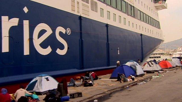 Tents beside ferry