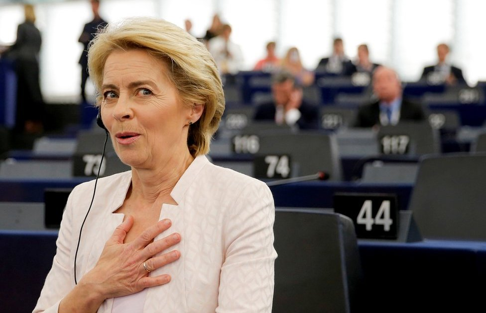 Ursula von der Leyen reacts after she is elected as president of the EU Commission