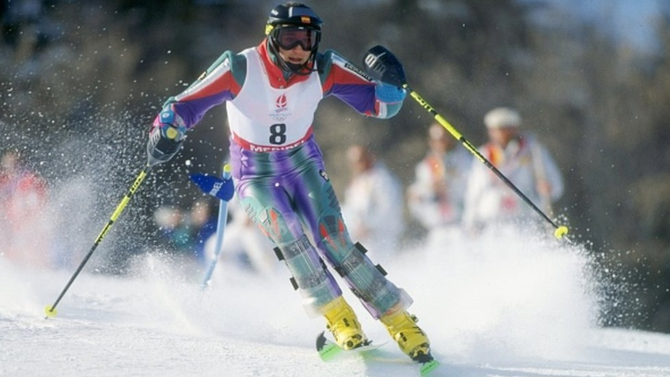 Ms Fernandez skis downhill during the women's slalom at the Winter Olympics in Albertville, France, in 1992
