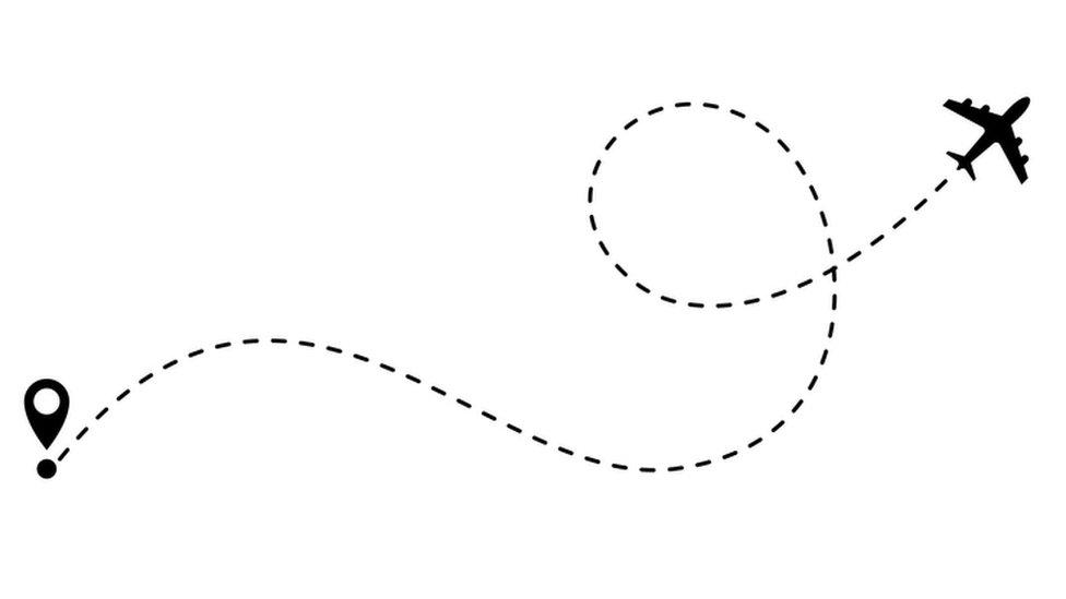 Dibujo de un avión haciendo una ruta.