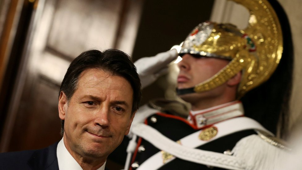 Giuseppe Conte leaves after a meeting with Italian President Sergio Mattarella at the Quirinal Palace in Rome, Italy, 27 May 2018