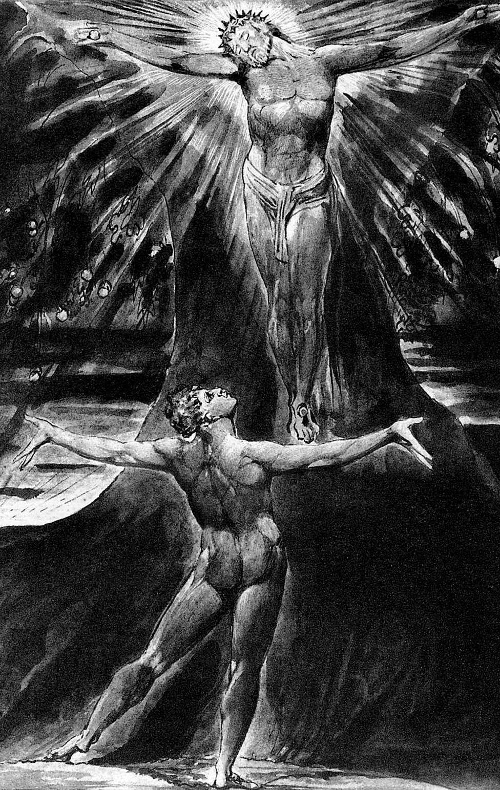 """Albión contemplando a Jesús crucificado en el poema con grabados """"Jerusalén"""", de William Blake"""