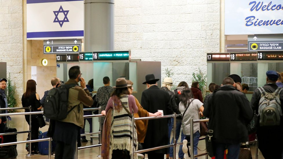 Travellers at passport control at Ben Gurion airport (file photo)