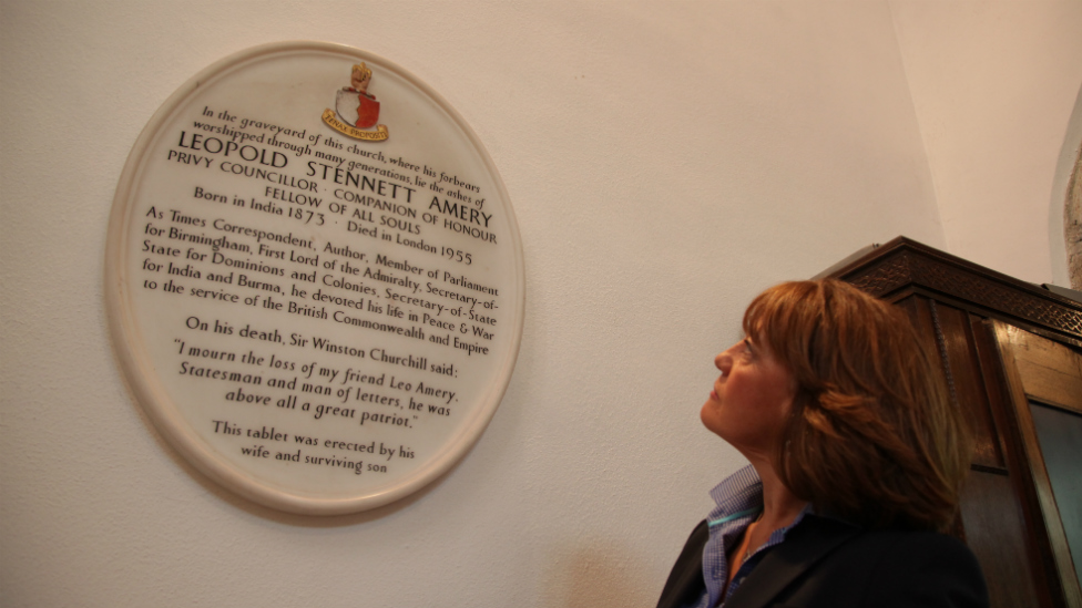 Jane Corbin with the plaque to her ancestor, Leo