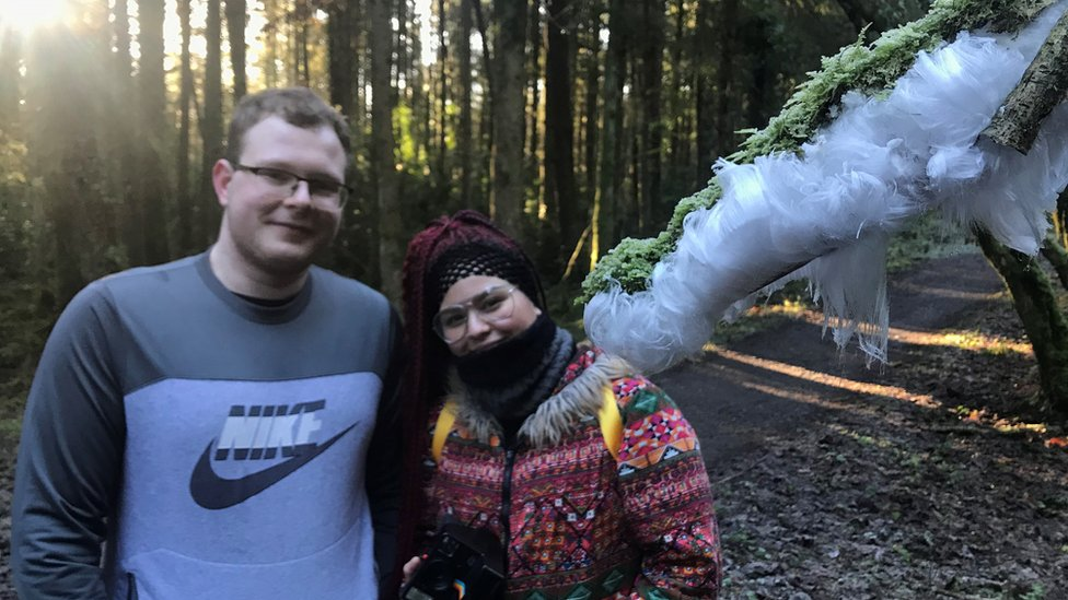 Janusz Kumor and Nadia Smith pictured beside hair ice at Old Castle Archdale in Fermanagh