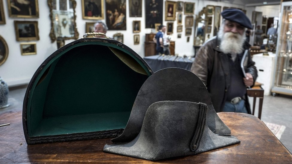 This picture taken on 14 June 2018 in Lyon, southern France, shows the hat allegedly attributed to Emperor Napoleon I