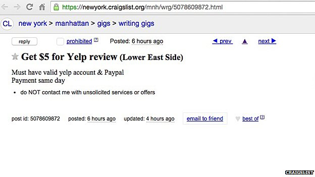 Add on Craigslist for fake review on Yelp