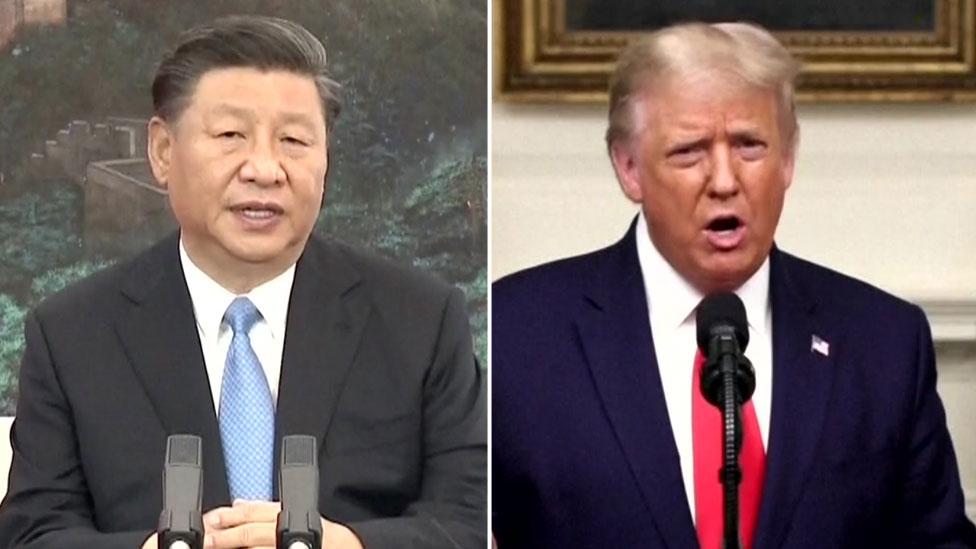 Си Цзиньпин и Дональд Трамп на составном изображении