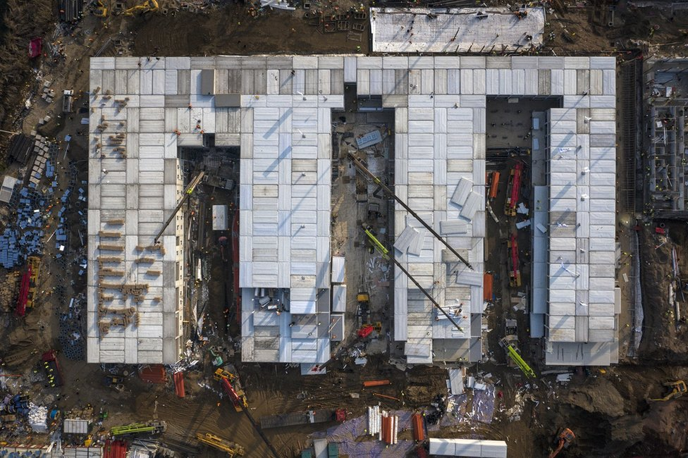 An aerial view of construction at Huoshenshan hospital