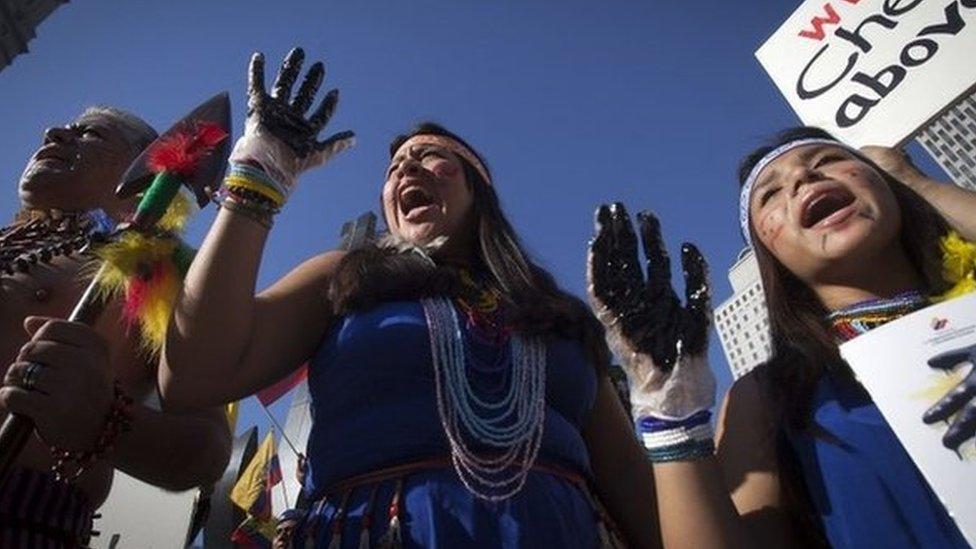 Ecuadoreans protest against Chevron in New York, Oct 13