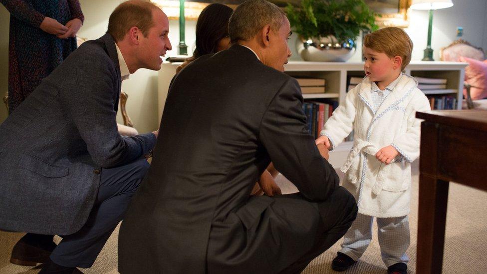 2016年,美國總統奧巴馬在倫敦肯辛頓宮(Kensington Palace)會見喬治王子。