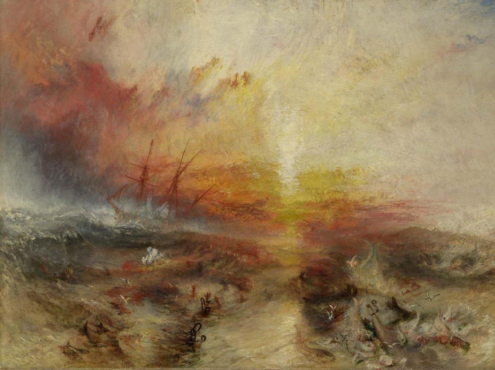 Pintura 'El barco de esclavos', de William Turner, expuesta en el Museo de Bellas Artes de Boston.