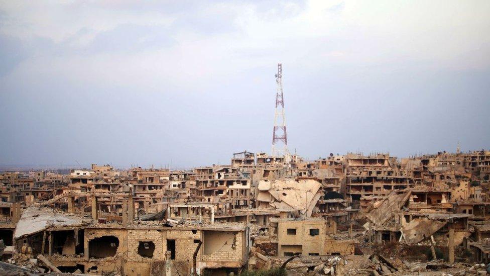 المباني المدمرة في مدينة درعا الجنوبية، 2 أغسطس/آب 2018