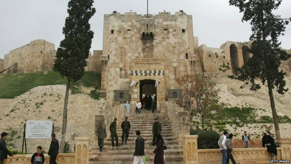 The Aleppo citadel, an Islamic landmark and the most prominent historic architectural site in Aleppo, as the city is inaugurated today as the Arab world's Islamic cultural capital, 18 March 2006