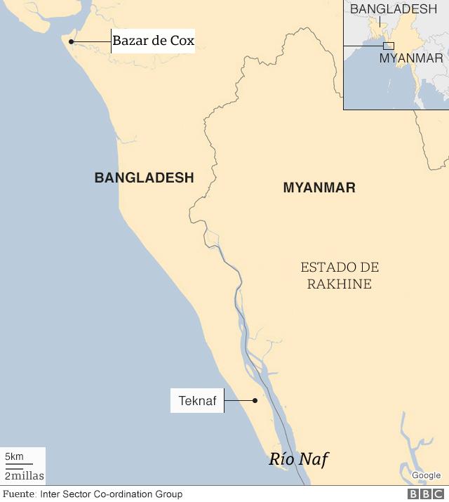 Mapa de Myanmar y Bangladesh