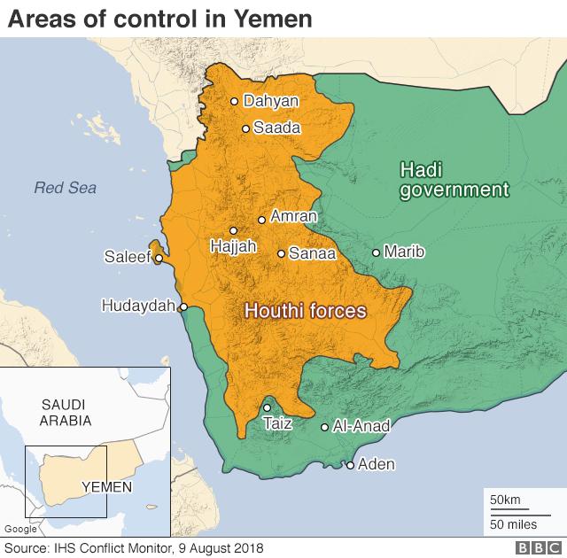 Map showing control of Yemen