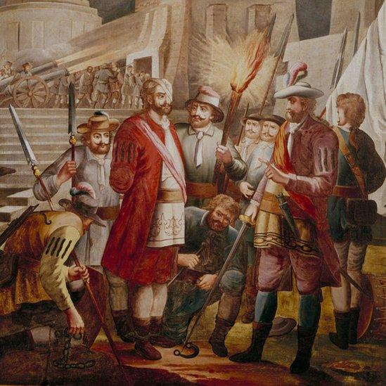 Retrato de Pánfilo de Narváez y Hernán Cortés