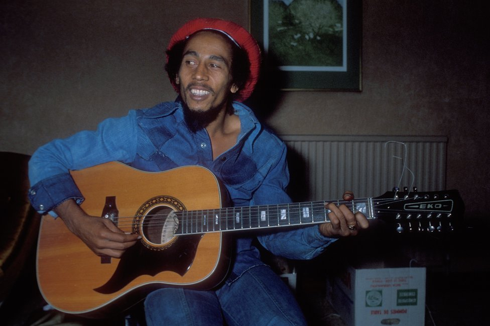 Bob Marley plays at a hotel in London in 1978