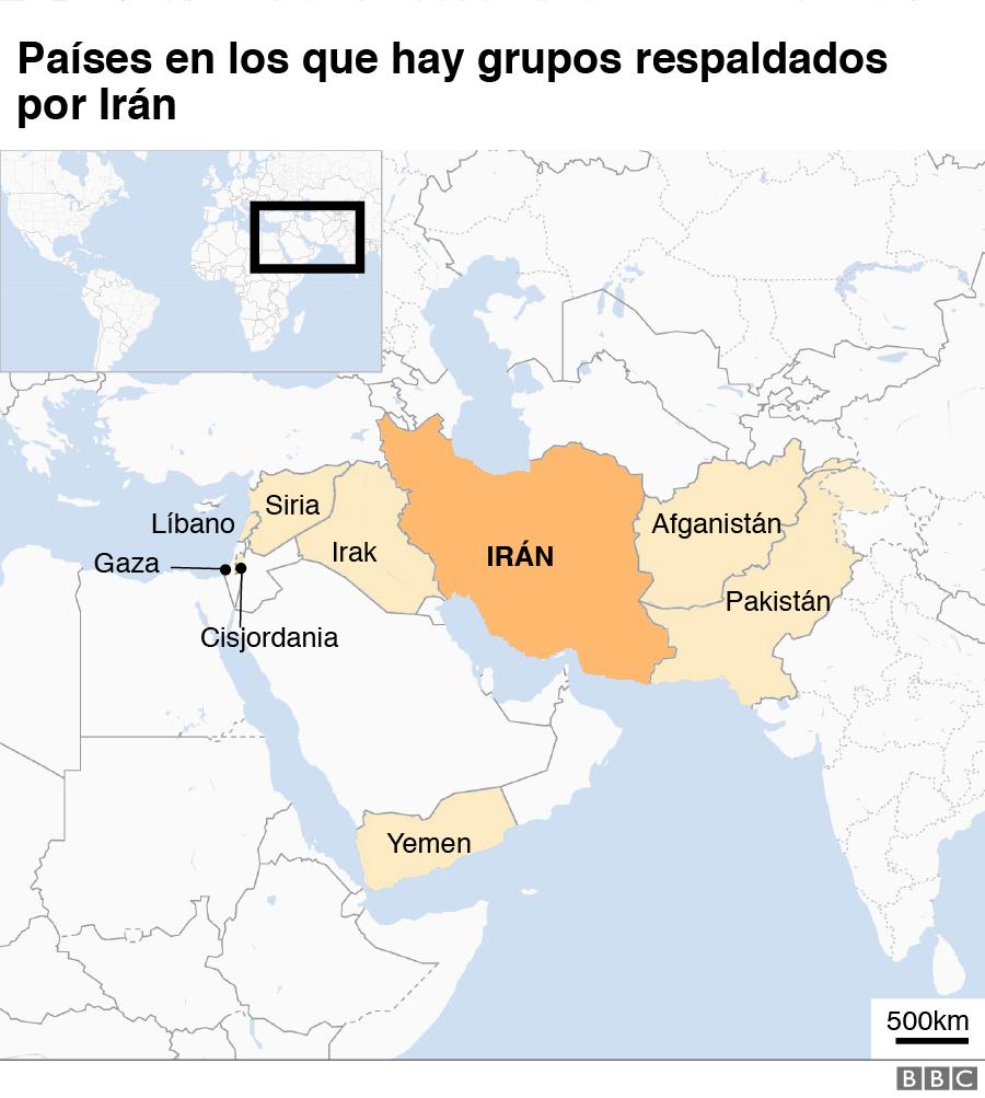 Mapa aliados de Irán.