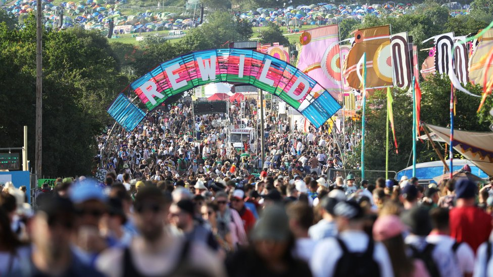 Crowds on the second day of Glastonbury festival