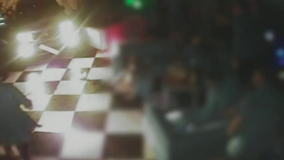 CCTV shows car crashing into nightclub dance floor
