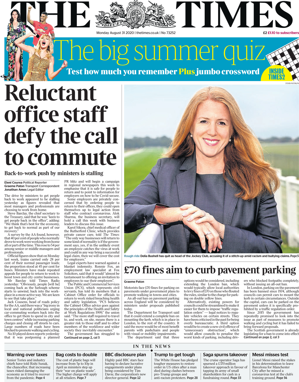The Times front page 31 August 2020