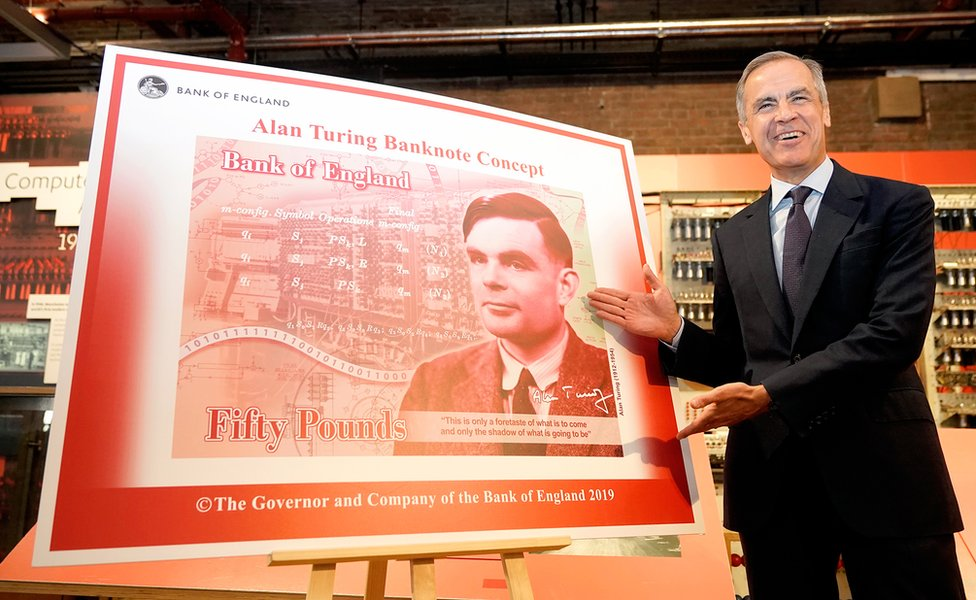 Mark Carney, the governor of the Bank of England, reveals Alan Turing as the new figure to be depicted on the £50 note