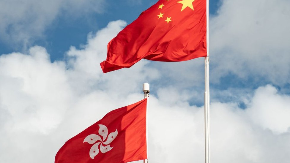 Banderas de Hong Kong y de China