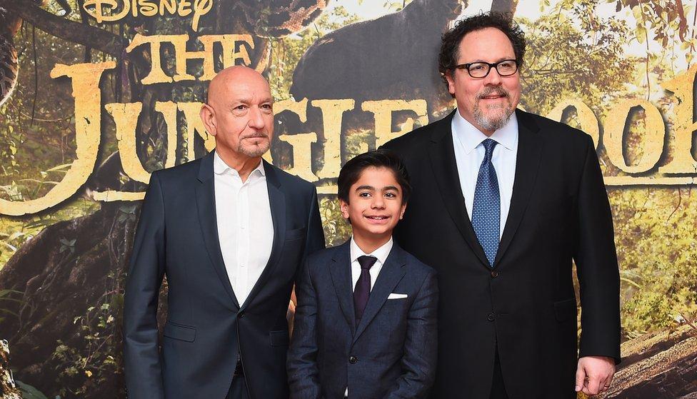 Sir Ben Kingsley, Neel Sethi and Jon Favreau at The Jungle Book premiere