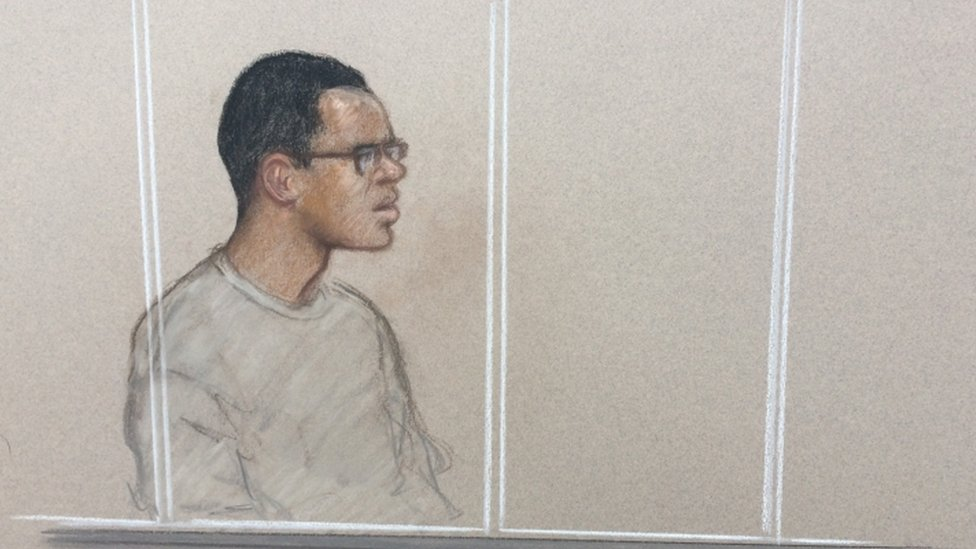 Artist's impression of Darren Pencille at Staines Magistrates' Court