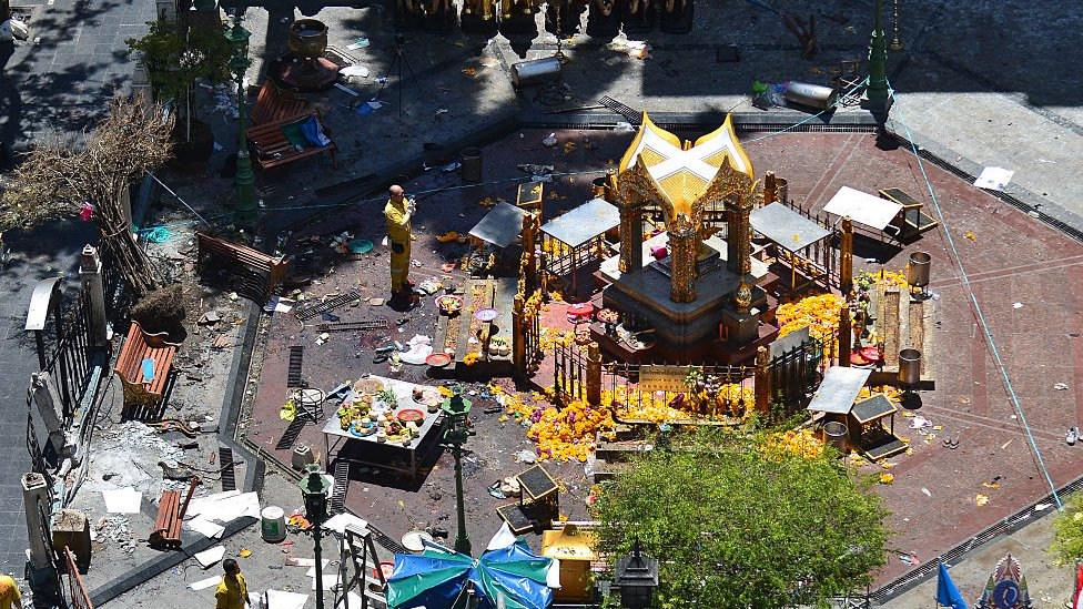 Erawan Shrine in Bangkok after a bomb attack in 2015 shocked the country