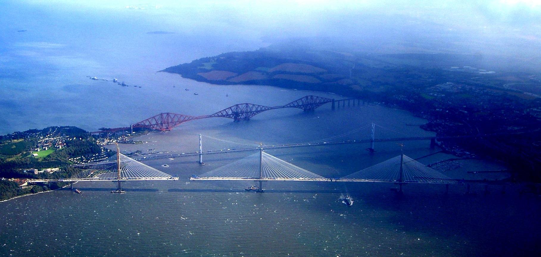 Aerial view of Forth bridges