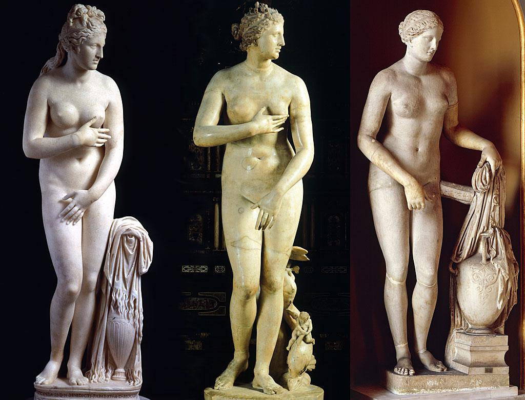 Venus Capitolina (II o III a.C.), Venus de Medici (I a.C.) y Colonna Venus