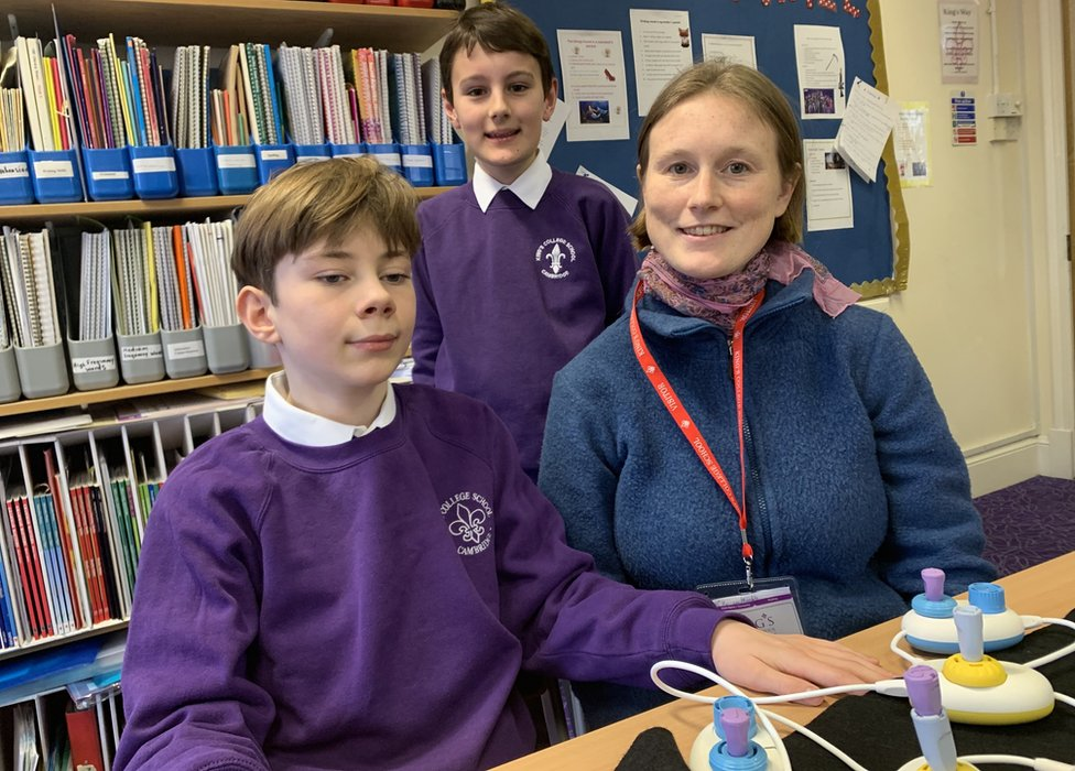 Theo, Ollie and Cecily with Code Jumper