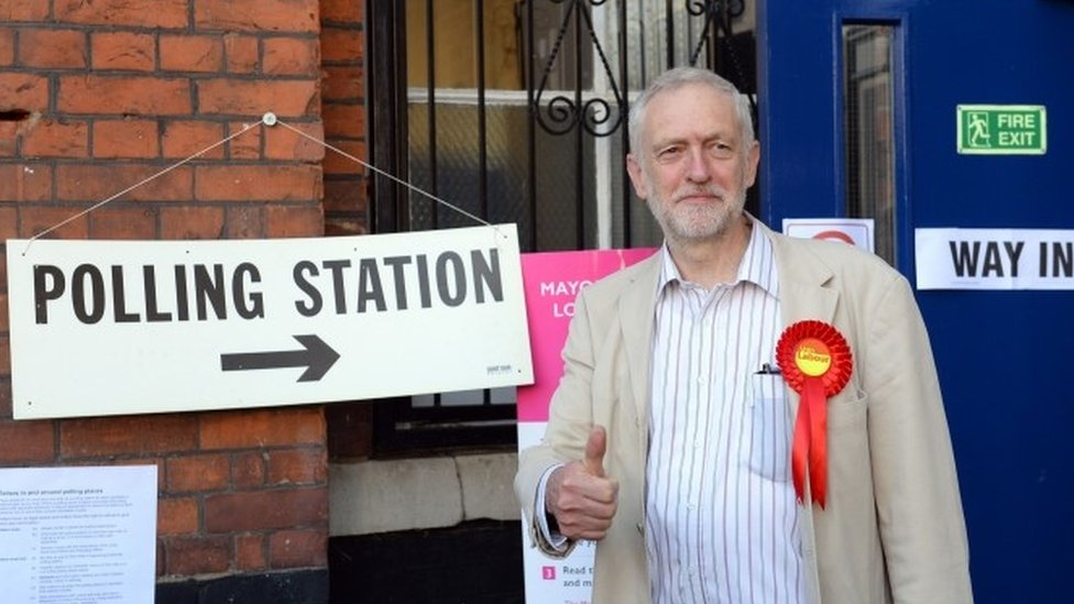 Jeremy Corbyn outside a polling station