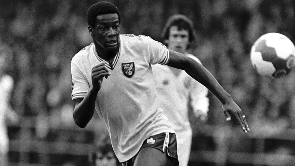 Justin Fashanu playing against Leeds Utd in 1979