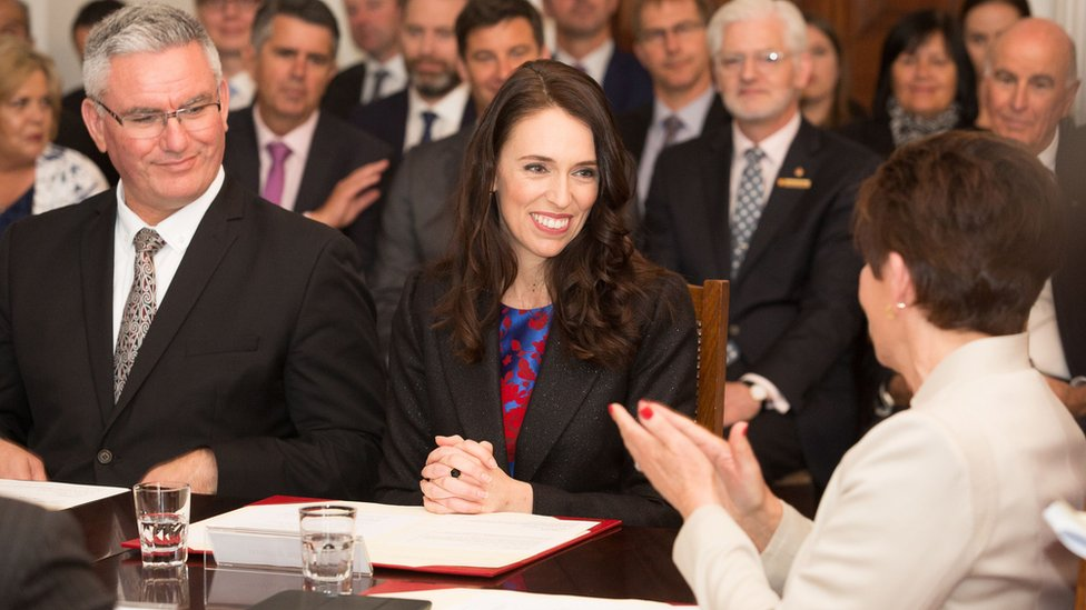 Jacinda Ardern at the swearing-in ceremony for the new government in Wellington