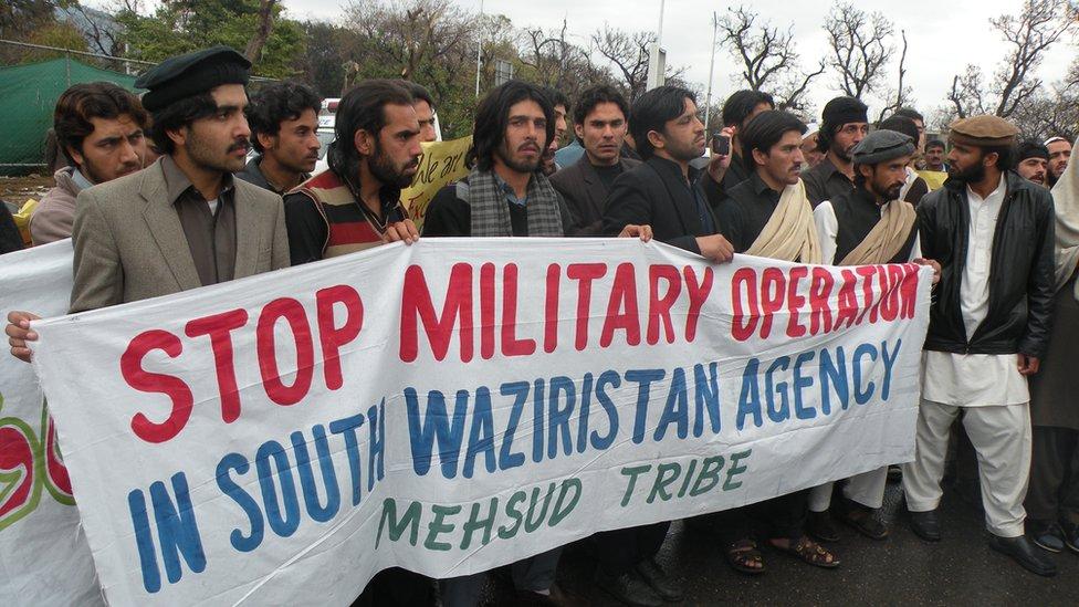 Una protesta de habitantes tribales de Pakistán