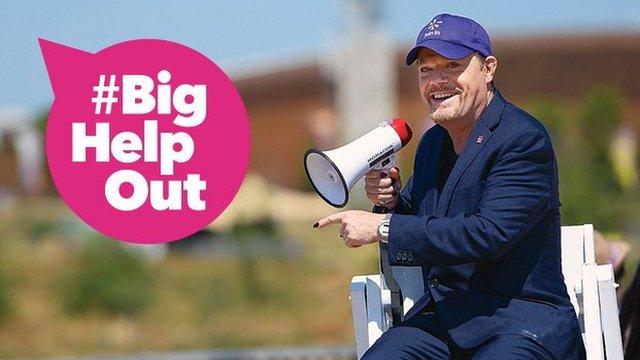 Eddie Izzard with a megaphone