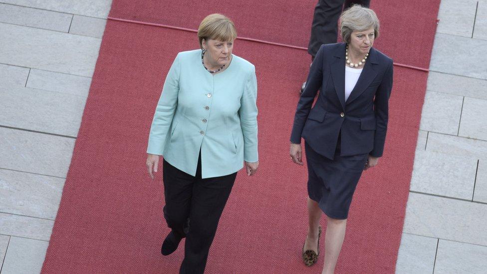 German Chancellor Merkel and Britain's Prime Minister May review honour guard in Berlin