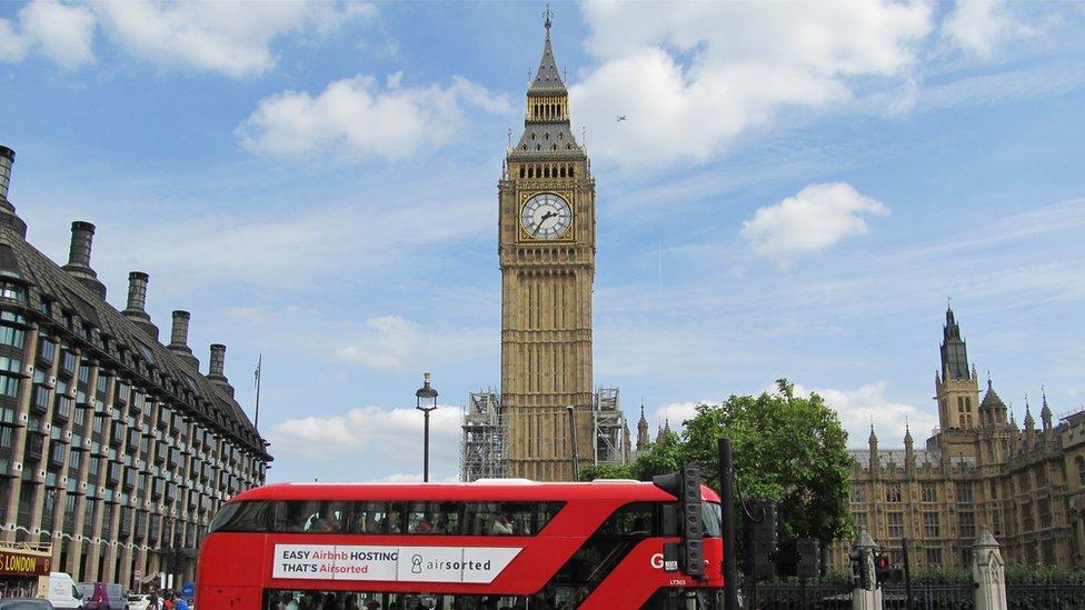 Big Ben and a double-decker bus