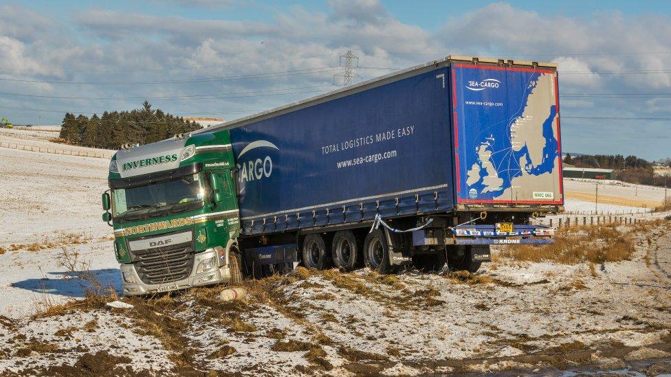 Jacknifed lorry on A96