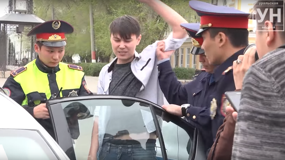 Kazakh video-blogger Aslan Sagutdinov protests in the city of Oral