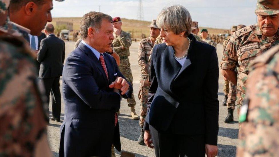 Theresa May and King Abdullah of Jordan