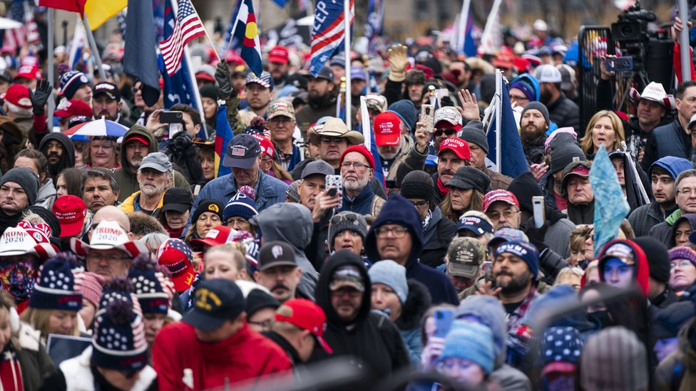 Supporters of US President Donald Trump gather for a rally in Freedom Plaza