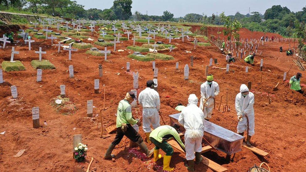 Vítima de coronavírus é enterrrada em Jacarta, na Indonesia.